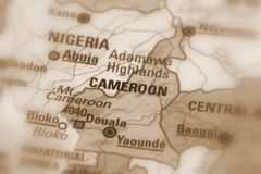 Republic of Cameroon. Cameroon, officially the Republic of Cameroon, Africa sepia selective focus royalty free stock images