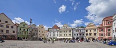 REPUBLIC-CESKY CHECO KRUMLOV, el cuadrado de Svornosti imagen de archivo libre de regalías