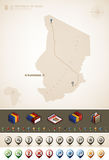 Republic of Chad. And Africa maps, plus extra set of isometric icons & cartography symbols set (part of the World Maps Set Royalty Free Stock Photography