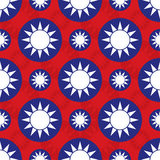 Republic of China Taiwan flag icon symmetry seamless pattern Stock Images