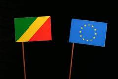 Republic of the Congo flag with European Union EU flag  on black Royalty Free Stock Photo
