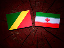 Republic of the Congo flag with Iranian flag on a tree stump iso. Lated Royalty Free Stock Photos