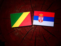 Republic of the Congo flag with Serbian flag on a tree stump iso. Lated stock images