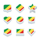 Republic of the congo flags icons and button set nine styles Royalty Free Stock Photography