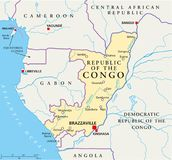 Republic of the Congo Political Map. Political map of the Republic of the Congo with capital Brazzaville, with national borders, most important cities, rivers Royalty Free Stock Photography