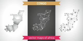 Republic of the Congo set of grey and silver mosaic 3d polygonal maps. Graphic vector triangle geometry outline shadow perspective. Set of Republic of the Congo Stock Photos