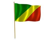 Republic of the Congo silk flag. Silk flag of the Republic of the Congo Stock Images