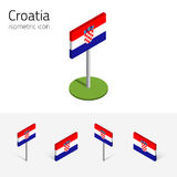 Republic of Croatia flag, vector set of 3D isometric icons Royalty Free Stock Photography