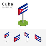 Republic of Cuba flag, vector set of 3D isometric flat icons. Cuban flag Republic of Cuba, vector set of isometric flat icons, 3D style, different views. 100% Stock Image