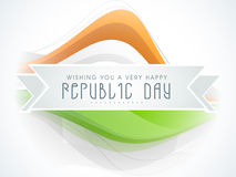 Republic Day celebration wishes on ribbon with national tricolor waves. Stock Photography