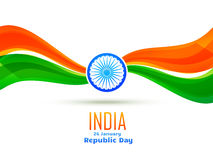 Republic day design made in wave style. Vector republic day design made in wave style celebrated on 26 january Royalty Free Stock Photo
