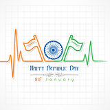 Republic Day greeting with heartbeat Royalty Free Stock Images