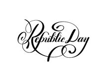 Republic Day handwritten ink lettering inscriptio. N for indian winter holiday 26 January, calligraphy vector illustration Stock Image