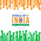 Republic Day of india with abstract orange and green Fist hands  and wheell sign flag vector design Royalty Free Stock Images