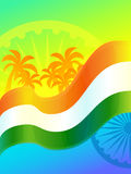 Republic Day in India. 26 January. Vector design element, background with Indian national flag, ashoka wheel and palm trees Royalty Free Stock Photo