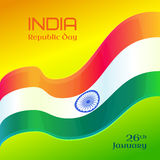 Republic Day in India. 26 January. Vector design element with text, background with Indian national flag Royalty Free Stock Photos