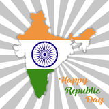 Republic Day India. Map of India with flag. Republic  Day India. Map of India with flag Stock Image