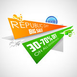 Republic Day of India sale banner with Indian flag tricolor. Illustration for Republic Day of India sale banner with Indian flag tricolor Stock Photography
