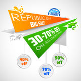 Republic Day of India sale banner with Indian flag tricolor. Illustration for Republic Day of India sale banner with Indian flag tricolor Stock Image