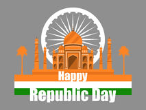 Republic Day of India. Taj Mahal with flag and palm trees. Vector Stock Photo