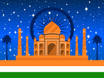 Republic Day of India. Taj Mahal with flag and palms on the background of a starry sky. Vector Royalty Free Stock Image