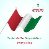 Republic Day in Italy. Vector template for design greeting cards with the waving flag of the Italy Stock Photo