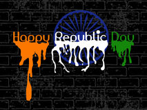 Republic Day Text with flew paint on black wall Stock Photos