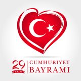 Cumhuriyet Bayrami 29 ekim card, heart emblem in national flag colors Royalty Free Stock Photography
