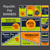 Republic Day. Vector illustration of a beautiful banner set for Republic day Stock Photo