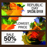 Republic Day. Vector illustration of a beautiful offer header set  for Republic day Royalty Free Stock Photo