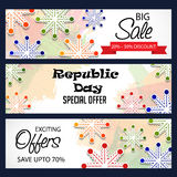 Republic Day. Vector illustration of a beautiful offer header set  for Republic day Royalty Free Stock Photography