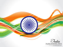 Republic Day wave Background with ashok chakra Royalty Free Stock Photography