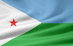 Republic of Djibouti flag. Background of Republic of Djibouti flag blowing in breeze Royalty Free Stock Images