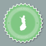 Republic of Finland badge flat design. Round flat style sticker of trendy colors with country map and name. Country badge vector illustration Royalty Free Stock Photo