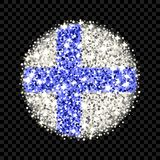 Finland flag sparkling badge. Republic of Finland flag sparkling badge. Round icon with Finnish national colors with glitter effect. Button design. Vector Royalty Free Stock Photo