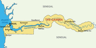 Republic of the Gambia - vector map Royalty Free Stock Photos