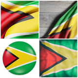 Republic of Guyana flag waving. Composition of four 3d rendering of Republic of Guyana flags waving Stock Photo