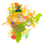 Republic of India Map for Independence Day. Republic of India Map showing Indian Culture and National Symbols, Creative illustration in Tricolor, Concept for Stock Image