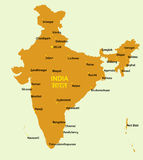 Republic of India map. Vector flat styled map of India and its capitals of states and union territories stock illustration