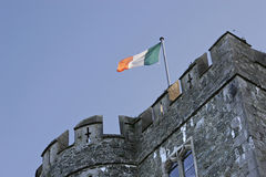 Republic of Ireland flag on castle. Republic of Ireland flag on kilkea castle stock photos