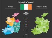 Republic of Ireland provinces and traditional counties vector map. Isolated on black Stock Photography