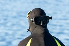 Republic of Karelia, Russia - August 19, 2015: Back of the diver, dressing in a suit for diving on the background of the sea royalty free stock image