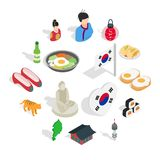 Republic Of Korea icons set, isometric 3d ctyle. Republic Of Korea icons set in isometric 3d ctyle. South Korea set collection vector illustration Stock Photo