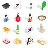 Republic Of Korea icons set, isometric 3d ctyle. Republic Of Korea icons set in isometric 3d ctyle. South Korea set collection vector illustration Stock Photo