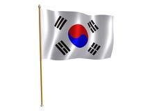 Republic of Korea silk flag. Silk flag of Republic of Korea Royalty Free Stock Photography