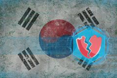 Republic of Korea South Korea hacked, attacked by hackers. Electronic safety concept. Stock Photography