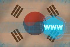 Republic of Korea South Korea www world wide web. Electronic concept. Republic of Korea South Korea www world wide web. Electronic concept on flag background Royalty Free Stock Photo