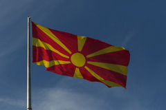 Republic of Macedonia flag. On the mast Stock Photography