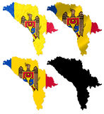 Republic of Moldova flag over map Stock Image