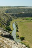 Republic of Moldova, Orhei Vechi/Orheiul Vechi nature reservation. Raut river seen from surrounding cliffs, summer, daylight stock photography